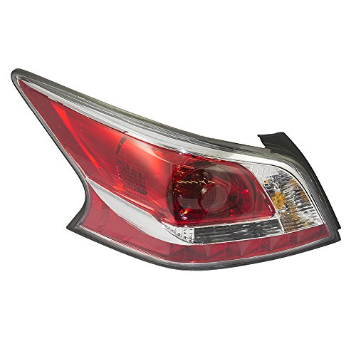 Drivers Taillight Tail Lamp Lens with Grey Edge Trim Standard Type Replacement for Nissan 26555-9HM0A - Standard Type