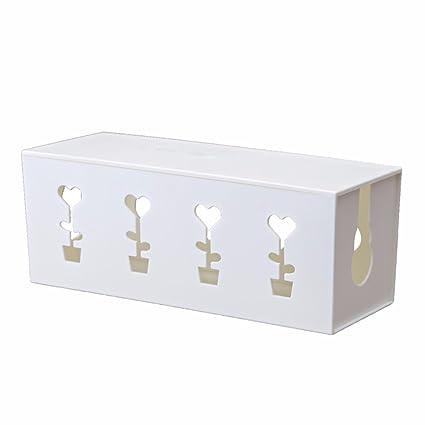 SQUEEQEES Enchufe el Cable de alimentación Cajas de Almacenamiento Blanco 32,5 * 12 *