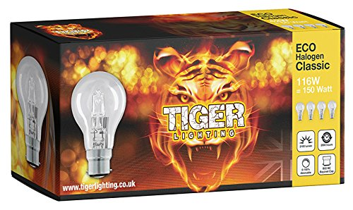 8 Pack A60 Classic 115W = 150W ECO Halogen (B22) Bayonet Cap (BC) Candle light bulb offer a sparkling crisp natural light with warm white 2700k colour, temperature with 2100 lumen output. TIGER LIGHTING