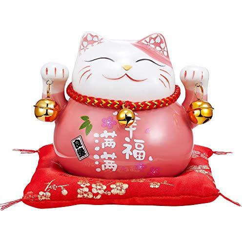 RandJ Maneki Neko Japanese Lucky Cat with Two Bells Lucky Cat Piggy Bank (Pink)
