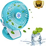 Clip on Fan,Bamett Clip Desk Fan Rechargeable Mini Personal Clip Fan Battery or USB Powered Rotatable Clamp Fan Table Fan for Baby Stroller,Car Gym Workout Camping,Green
