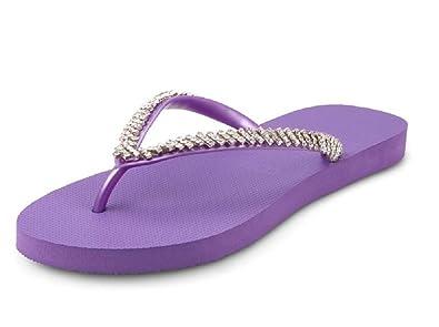 cd74db339 Uzurii Slippers Classic White Purple Women Girls Embellished Flip Flops EU  35-36 UK 2-3: Amazon.co.uk: Shoes & Bags