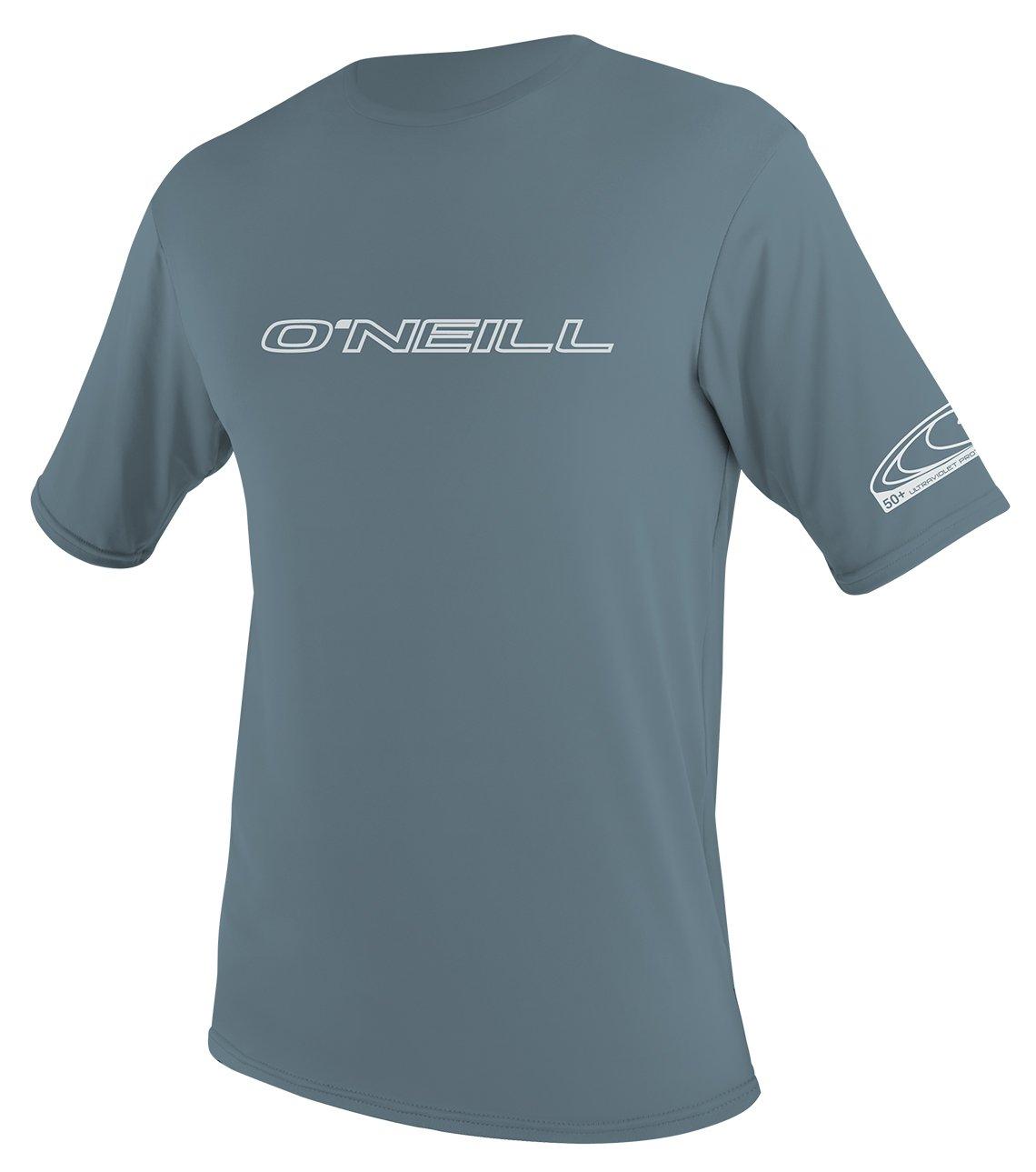 O'Neill Wetsuits Men's Basic Skins UPF 50+ Short Sleeve Sun Shirt, Dusty Blue, Small