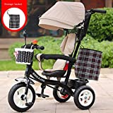 keyi le Durable and Sturdy Multifunctional Children's Tricycle Baby Cart 1-6 Years Old Infant Child Bicycle Removable Boys And Girls Bike Multi-color Cloth Awning (Color : Black-J)