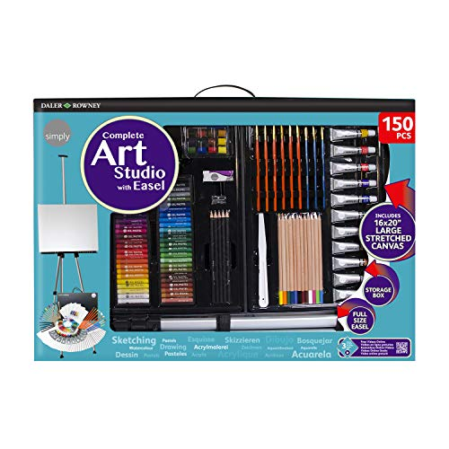 - Daler Rowney Complete 150-Piece Art Studio with Aluminum Field Easel Includes Acrylic Paints, Oil Pastels, Watercolors, Brushes, Drawing Pencils, and More in Portable Storage Box, 196500603