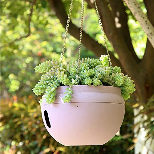 Plastic Hanging Flower Pot Lazy self-Priming Balcony Hanging Basin Inside and Outside Room - (Color: White, Sheet Size: L15.7CM ()