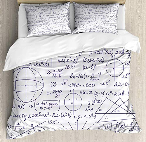 (Modern Duvet Cover Set Full Duvet, School Genius Smart Student Math Geometry Science Numbers Formules Image Art, Decorative 3 Piece Bedding Set with 2 Pillow Shams, Dark Purple)