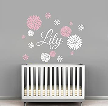Custom Flowers Name Wall Decal - Girls Kids Room Decor - Nursery Wall  Decals - Flower Decals for Girls Room (30Wx24H)