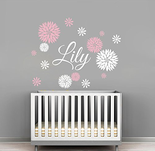 Custom flowers name wall decal girls kids room decor for Baby room decoration wall stickers