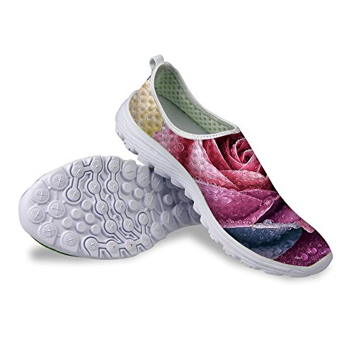 Floral Women's Mesh B Casual Pattern Comfortable Shoes Stylish Running Walking U FOR DESIGNS Red I4AfTf