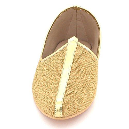 Hommes Jeune Marié Shimmery Traditionnel Ethnique Mariage Indien Pompes Khussa Jutti Mojari Glisser sur Chaussures Plates Taille Or E3BViIDs