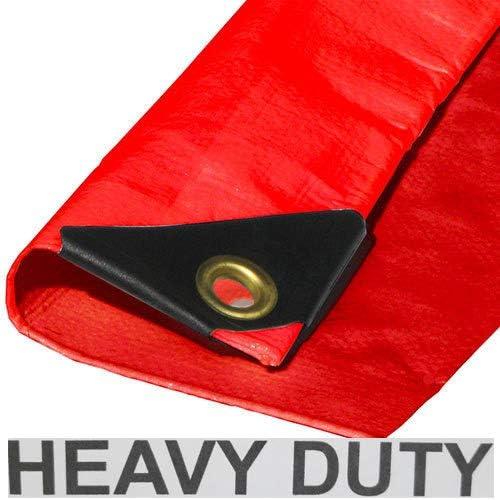 10/' x 10/' RED PREMIUM HEAVY DUTY POLY TARP w//UV BLOCKER