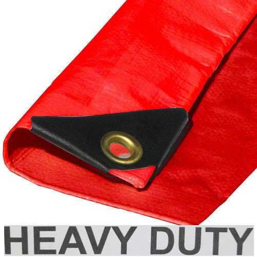 10' x 16' Heavy Duty Premium Red Poly Tarp 12 Mil Thickness (Mile Port Red)