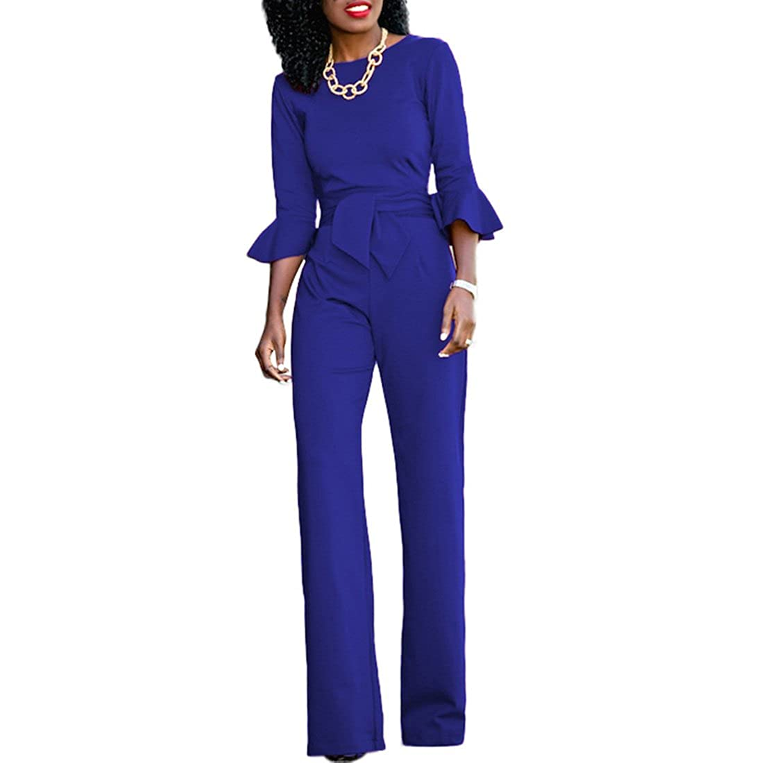 7095d2d00f16 Chic-Lover Womens Solid Flare Sleeves Wide Leg Long Pants Jumpsuits Romper  with Belt  Amazon.ca  Jewelry