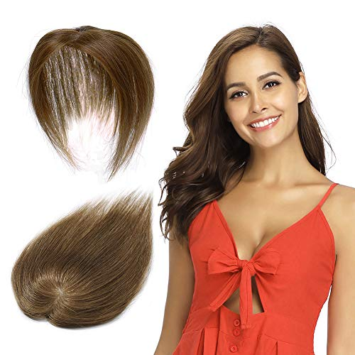 100% Remy Human Hair Silk Base Top Hairpieces Replacement Clip in Topper For Women Crown Top Piece Short 6''/6inch #6 Light Brown 15g