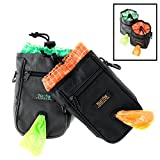 Mighty Paw Dog Treat Bag, Premium Quality Drawstring Closure Pouch, Includes Carabiner Hook, 1 Roll of Pick-up Bags and Reflective Belt (Black)