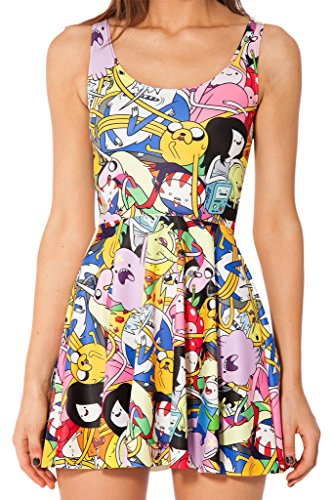 OUCHI Women Retro Summer Digital Printed Stretch Sheath Pleated Tank Dress One Size Cartoon Multicolor