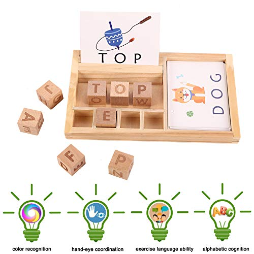 (Jamohom Wooden Spell Alphabet Puzzle Developmental Letters Blocks with 50Pieces Cards Board Develops Vocabulary and Spelling Skills)