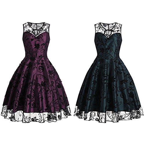 iShine Sra Vintage vestido de encaje vestido de swing grande púrpura