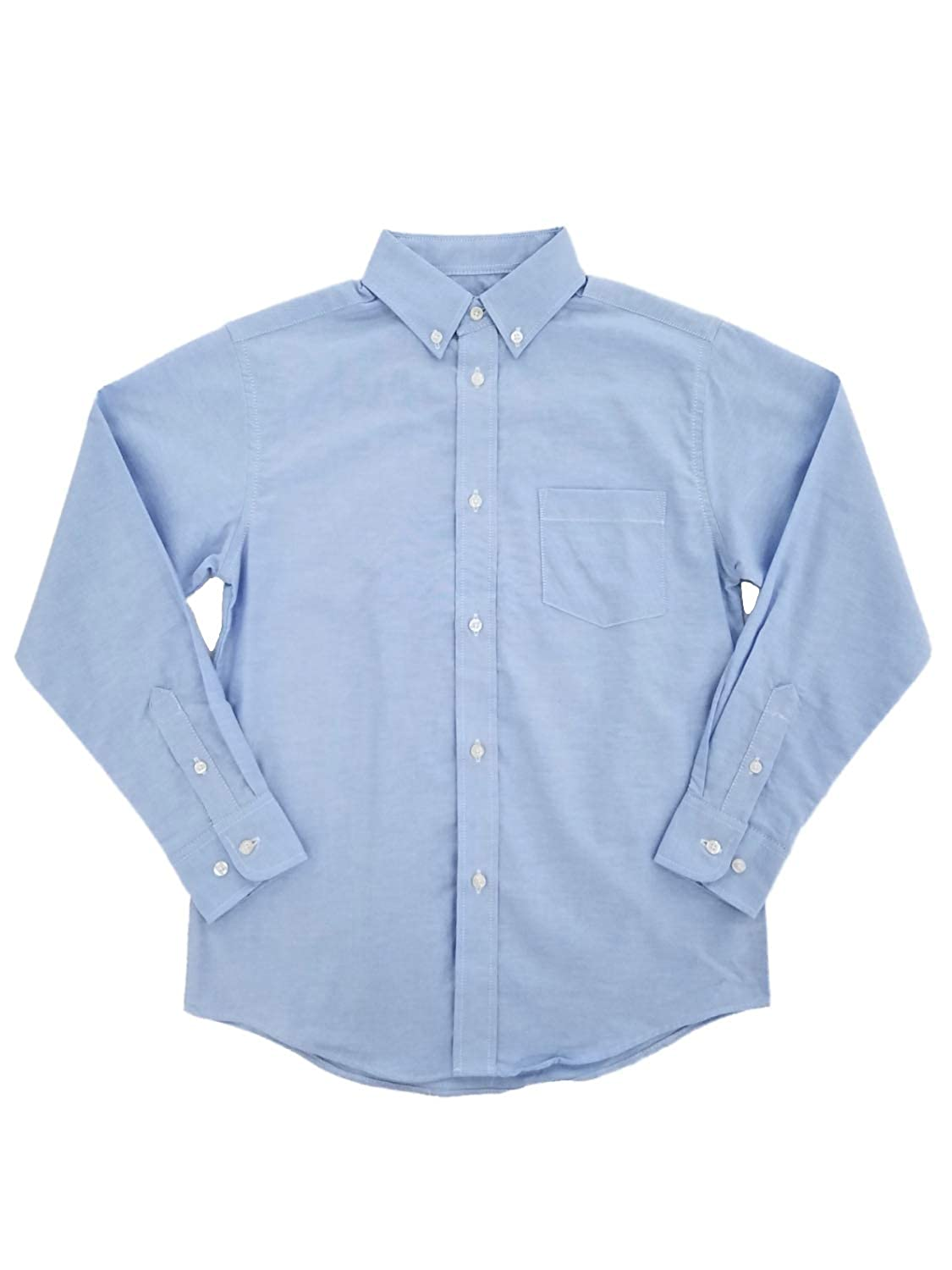 Chaps Boys Solid Blue Oxford Button-Down Long Sleeve Dress Shirt
