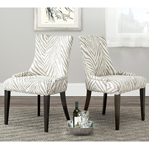 Safavieh Mercer Collection Eva Soft Linen Dining Chair with Trim Nail Head, Grey and White -  MCR4502N