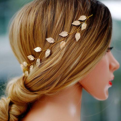 Yean Wedding Headband Gold Leaf Bridal Headpieces for Bridesmaid and Flowergirls (15.7 Inches) -