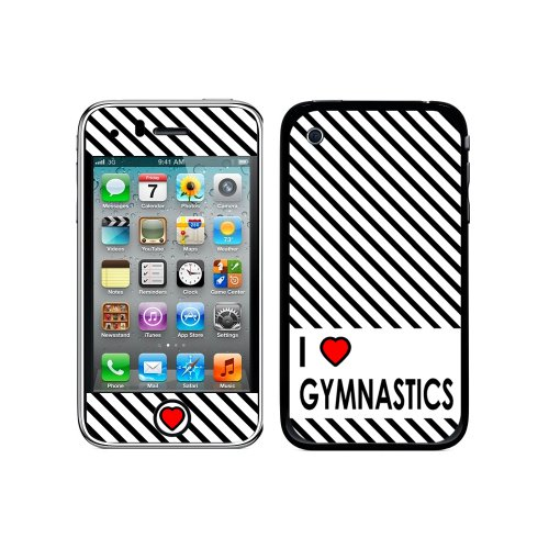 Graphics and More Protective Skin Sticker Case for iPhone 3G 3GS - Non-Retail Packaging - I Love Heart Gymnastics - Iphone 3 Gs Skin Case