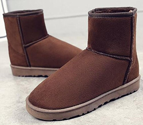 IDIFU Womens Mens Unisex Solid Fleece Lined Flat Winter Boots Ankle High Snow Booties Brown OynHHlTO