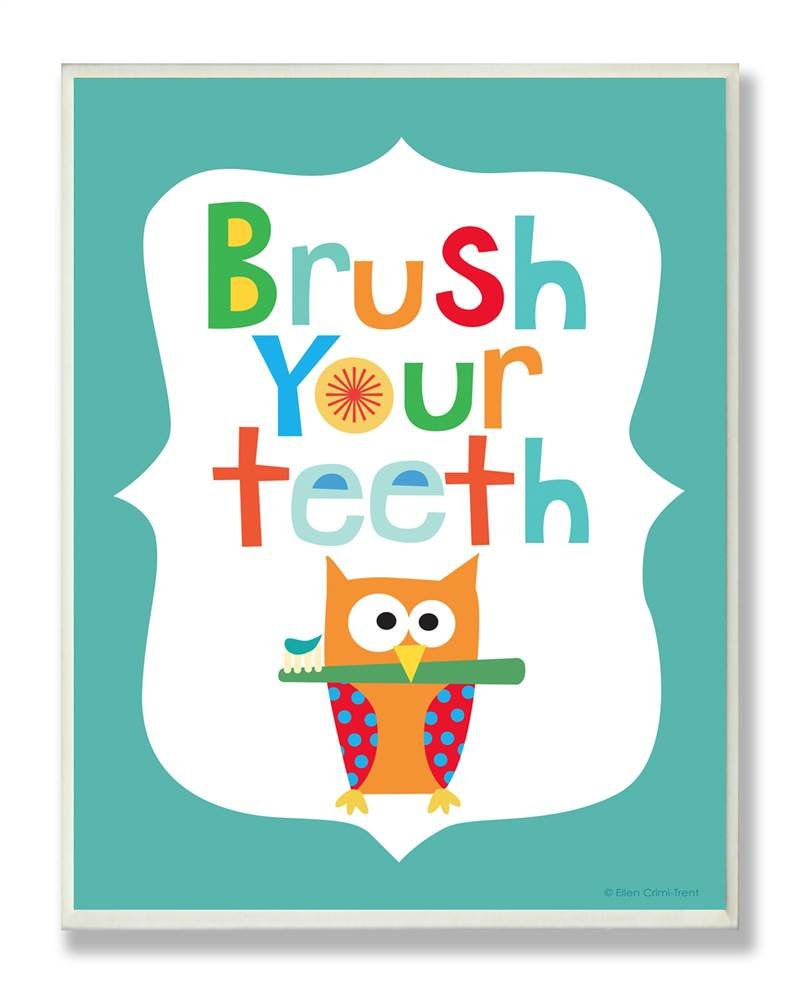 The Kids Room by Stupell Brush Your Teeth with Owl On Blue Background Rectangle Wall Plaque, 11 x 0.5 x 15, Proudly Made in USA by The Kids Room by Stupell