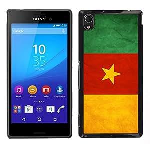 EJOY---Cubierta de la caja de protección para la piel dura ** Sony Xperia M4 Aqua ** --Nacional bandera de la nación País Camerún