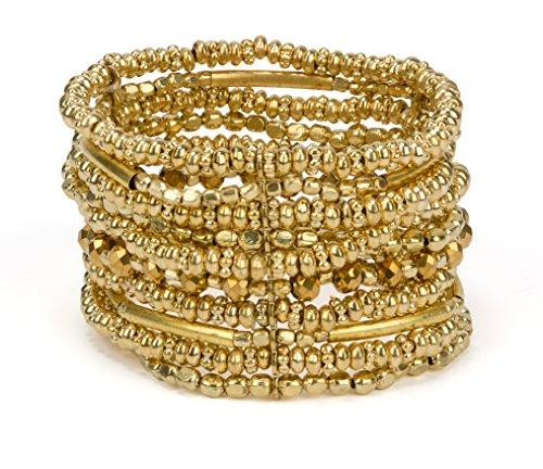 SPUNKYsoul New! Handmade Boho Gold or Silver Toned Bracelet Elastic Stretch Bracelet for Women Collection (Gold)