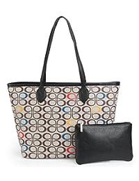 MICOM Korean Womens All-over Printing Pu Leather Tote Handbags Shopping Bag  with Clutch Purse 318a635cdb2b3