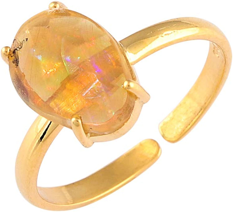 OOAK by Virat Anillo de plata esterlina con piedras preciosas de ópalo natural, joyería hecha a mano, cristal de curación de chakra, piedra energética, yoga, anillo de meditación, anillos para mujeres