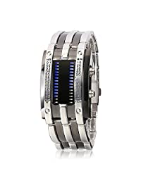 Men's Business Casual Stainless Steel Strap Binary Matrix LED Watches Silver Strap Black Dial