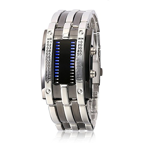 Mens Business Casual Stainless Steel Strap Binary Matrix Led Watches Silver Strap Black Dial