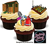 12 x Allotment Shed Potting Mix B Garden Gardener - Fun Novelty Birthday PREMIUM STAND UP Edible Wafer Card Cake Toppers Decoration