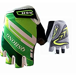 Kids Junior Cycling Gloves Outdoor Sport Road Mountain Bike, Fit Boy Girl Youth Age 2-10, Gel Padding Bicycle Half Finger Pair, By Finger Ten (Green, Large)
