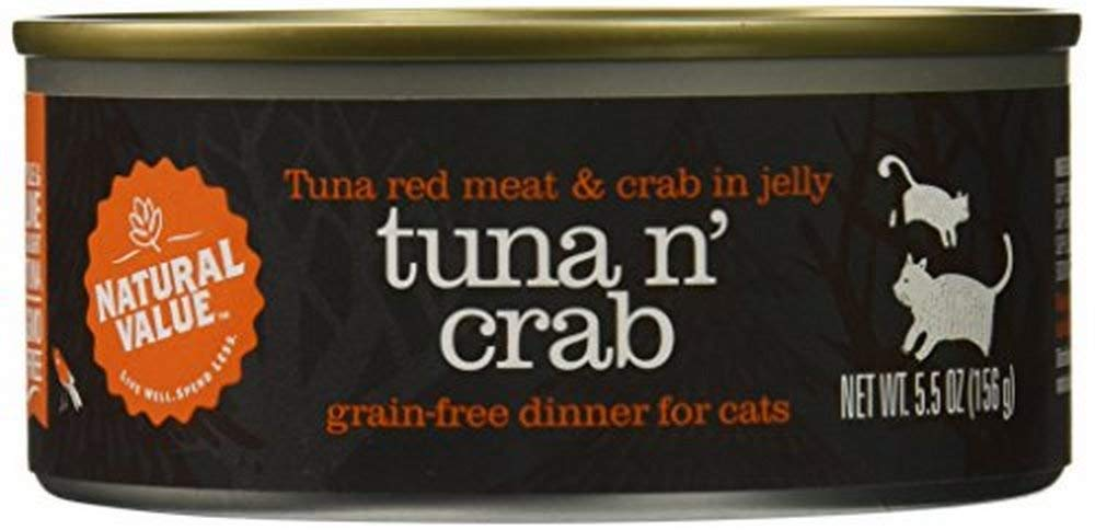 Natural Value Red Meat Tuna in Jelly Topped with Crab Cat Food, 5.5 Ounce Cans (Pack of 24) by Natural Value