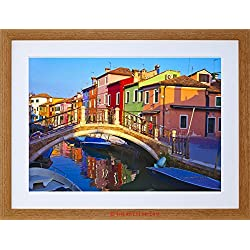 PHOTO CITYSCAPE VENICE ITALY BURANO BRIDGE CANAL FRAMED PRINT F97X5504