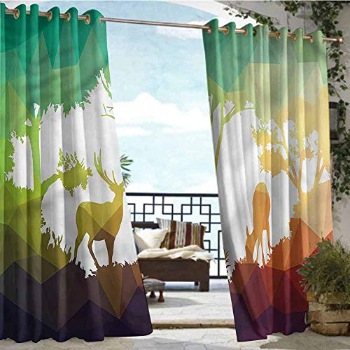 crabee Outdoor Blackout Curtains Africa,Desert Hunter Graphic,W72 xL84 Outdoor Patio Curtains Waterproof with Grommets