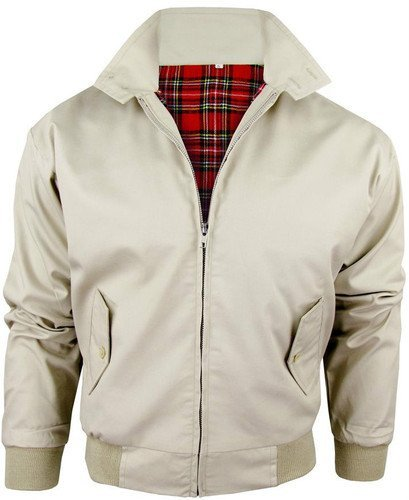 HERREN KLASSISCHE 1970er BOMBER HARRINGTON RETRO TRENDIGE TOP SCOOTER JACKE 4XL,Beige