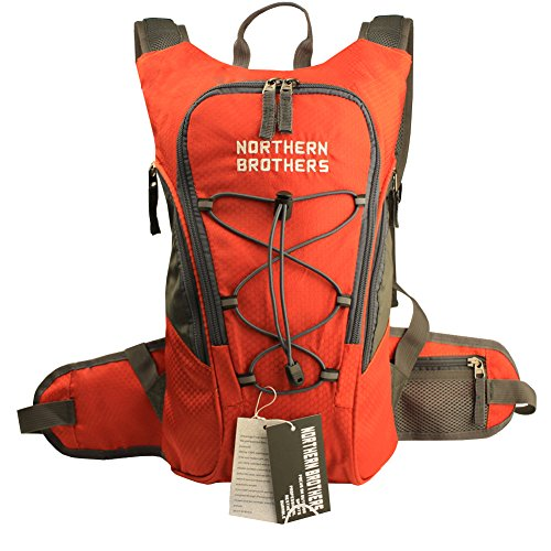 Lightweight Hydration Backpack Bladder Pack Daypack for Hiking, Running, Camping, Climbing, Cycling, Walking, Hunting(single orange backpack)