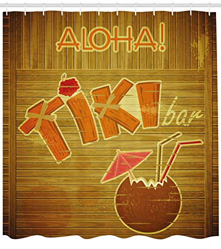 Tiki Bar Decor Shower Curtain Wooden Planks Wall with Styled Tiki Bar Text Cocktail Hibiscus Aloha Fabric Bathroom Decor Set with Hooks Extra Long Orange Brown 36