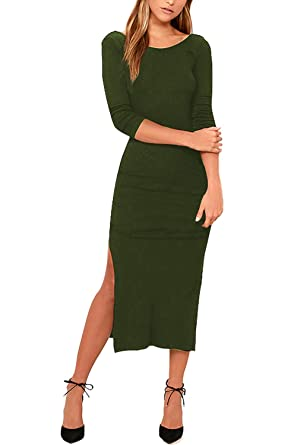 7e9a3596d96 Meenew Womens Half Sleeve Solid Bodycon High Slit Boat Neck Midi Dress Army  Green S