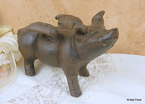Ship from USA Cast Iron Metal Flying Pig w// wings Doorstop Paperweight Whimsical Pig Statue