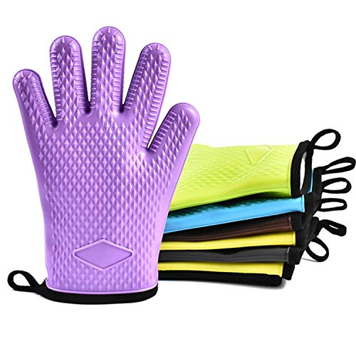 Kitchen gloves Heat Resistant Silicone Gloves For Barbecue Grill Oven BBQ Cooking Bake Mitt Set Household Supplies Gloves (UnitCount : Three -