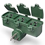 Fosmon 3 Outlet Wall Adapter, 3-Prong 125V AC Plug, ETL Listed, Outdoor, Weatherproof, Grounded, Heavy Duty Wall Tap (Green)