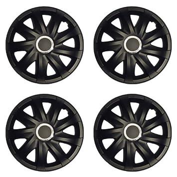 Tapacubos DRF Negro Mate 16 pulgadas apto para Volvo C30, C70 cooupe + CABRIO, S40, V50: Amazon.es: Coche y moto