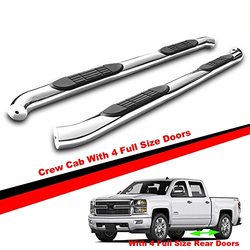 "Mifeier 3"" Round Side Steps Nerf Bar Fit 07-18 Silverado/Sierra 1500 2500 HD Crew Cab With 4 Full Size Doors Running Boards(No Diesel)"