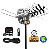 Amplified TV Antenna -Outdoor Digital HDTV Antenna 150 Mile Motorized 360 Degree Rotation,Wireless Remote, 33FT Coaxial Cable for FM/VHF/UHF Channels(without pole),4K ready